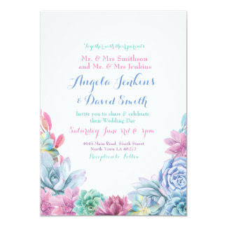 Winter Wedding Pastels Succulent Party Invitation