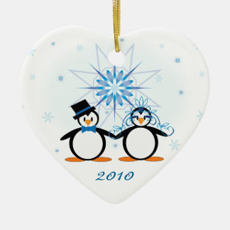 Winter Wedding Penguins Customizable Ornament