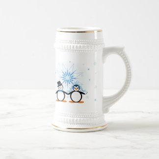 Winter Wedding Penguins - Customizable Stein Beer Steins