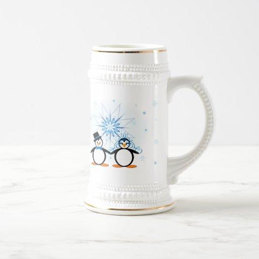 Winter Wedding Penguins - Customizable Stein Coffee Mugs