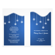 Winter Wedding Program Snowflake Decoration Blue Custom Flyer