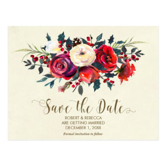winter wedding red berries save the date postcard
