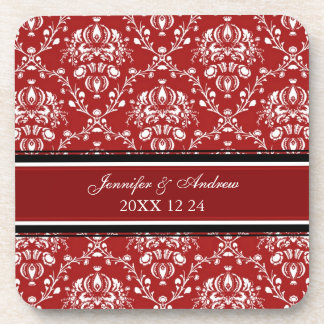 Winter Wedding Red Damask Coasters