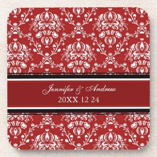 Winter Wedding Red Damask Coasters