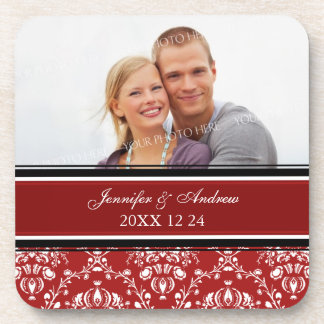 Winter Wedding Red Damask Photo Coasters