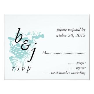 Winter Wedding RSVP Cards Blue Pine 11 Cm X 14 Cm Invitation Card