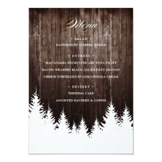 Winter Wedding Rustic Wood Reception Menu Card