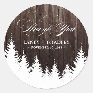 Winter Wedding Rustic Wood Sticker Label