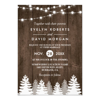 Winter Wedding Rustic Wood String Lights Pine Tree 13 Cm X 18 Cm Invitation Card