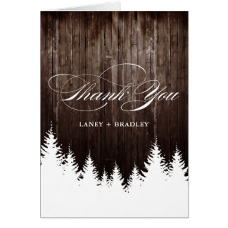 Winter Wedding Rustic Wood Thank You Cards
