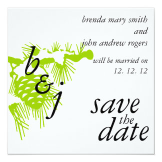 Winter Wedding Save the Date Announcements Green