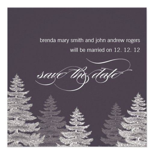 Winter Wedding Save the Date Cards Trees Personalized Announcements