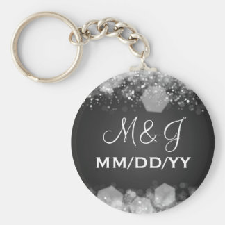 Winter Wedding Save The Date Sparkling Night Black Key Ring