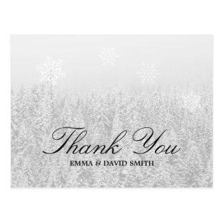 Winter Wedding Snow Forest & Snowflakes Thank You Postcard