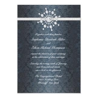 Winter Wedding Snowflake Blue Damask Invitation