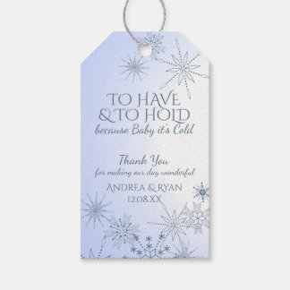 Winter Wedding Snowflakes Blue Gift Tags