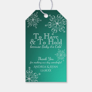 Winter Wedding Snowflakes Green Gift Tags