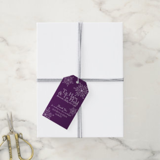 Winter Wedding Snowflakes Purple Gift Tags