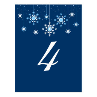 Winter Wedding Snowflakes Table Number Card Post Card