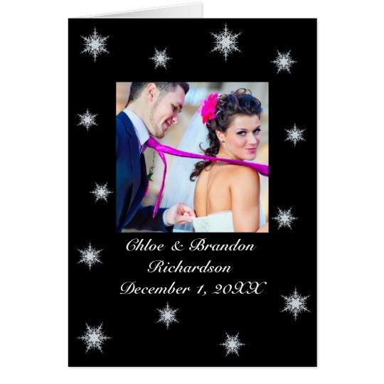 Winter Wedding Snowy Thank You Card