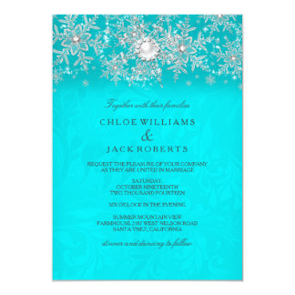 Winter Wedding Teal Crystal Pearl Snowflake Silver 13 Cm X 18 Cm Invitation Card