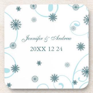 Winter Wedding Teal Snowflakes Coasters