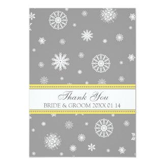 Winter Wedding Thank You Cards Gray Yellow 13 Cm X 18 Cm Invitation Card