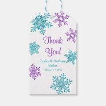 Winter Wedding Thank You Purple Teal Snowflake