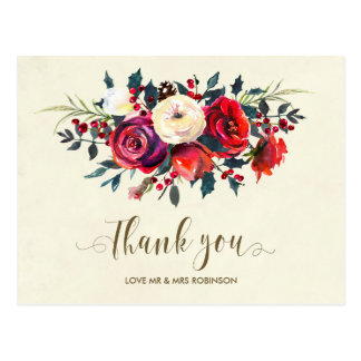 winter wedding thank you roses berries postcard