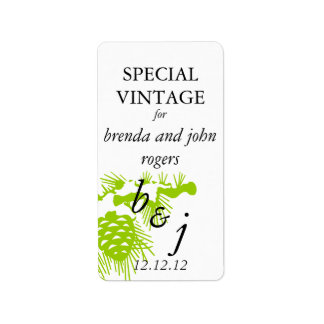 Winter Wedding Wine Bottle Label Green Address Label