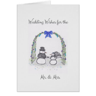 Winter Wedding Wishes Blank Greeting Card