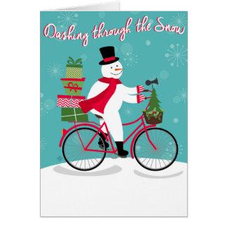 Winter Whimisical snowman on bike Card