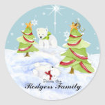 Winter Whimsy Cute Polar Bear Babies in Snow Star Round Stickers