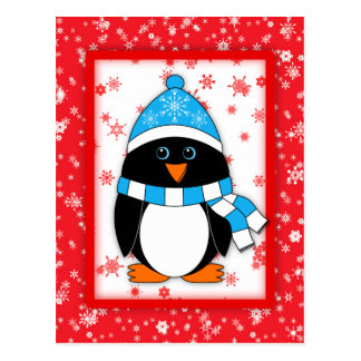 Winter Whimsy Penguin Postcard