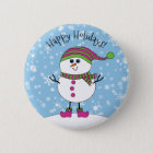 Winter Whimsy Snowman Happy Holidays 6 Cm Round Badge