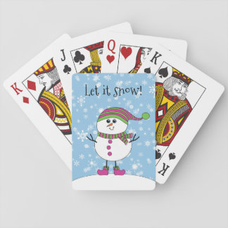 Winter Whimsy Snowman Let it Snow Playing Cards