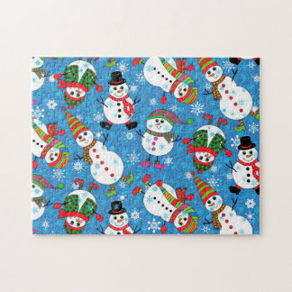 Winter Whimsy Snowman Pattern Jigsaw Puzzle