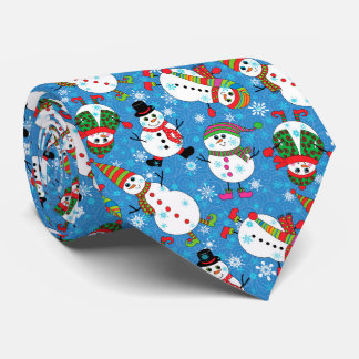Winter Whimsy Snowman Pattern Tie