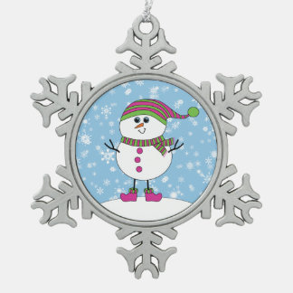 Winter Whimsy Snowman Snowflake Pewter Christmas Ornament