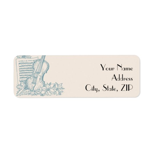 Winter White and Blue Return Address
