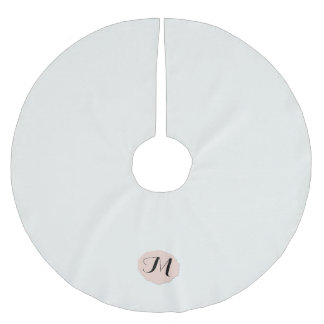 Winter White and Cameo Monogram Brushed Polyester Tree Skirt