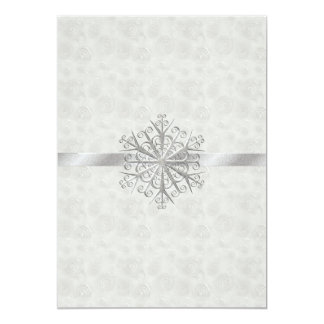 Winter White and Silver Snowflake Wedding Card