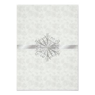 "Winter White and Silver Snowflake Wedding 5"" X 7"" Invitation Card"