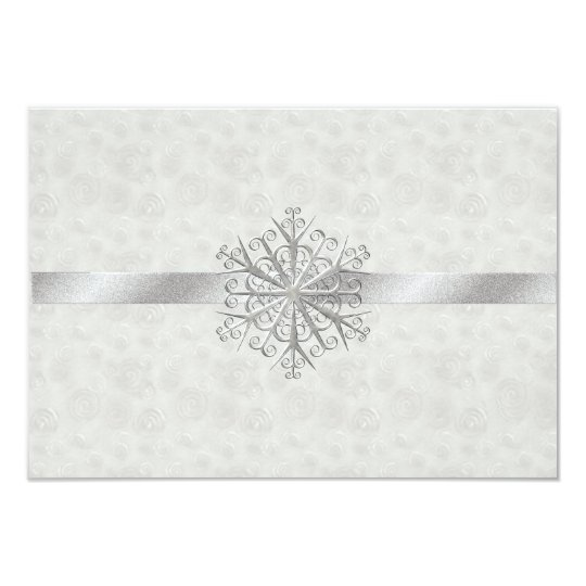 Winter White and Silver Snowflake Wedding RSVP Card