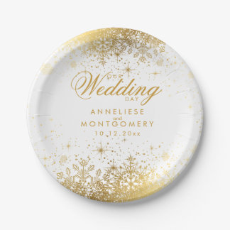 Winter White & Gold Snowflakes Wedding Paper Plate