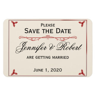 Winter White Red Mistletoe Wedding Save the Date Magnet
