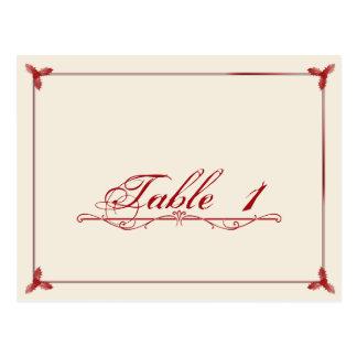 Winter White Red Mistletoe Wedding Table Number Postcards
