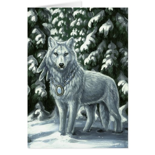 Winter White Wolf Greeting Card