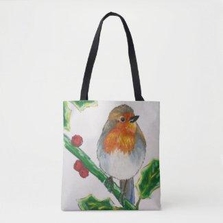 Winter wildlife robin bird illustration tote bag