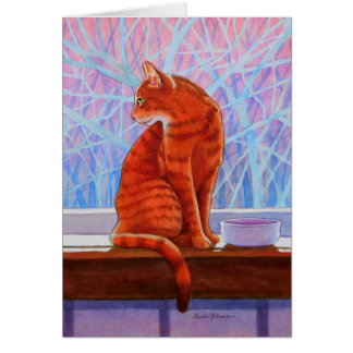 Winter Window Tabby Cat Greeting Card